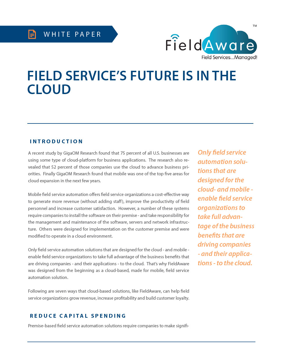 Field Service's Future Is In The Cloud White Paper