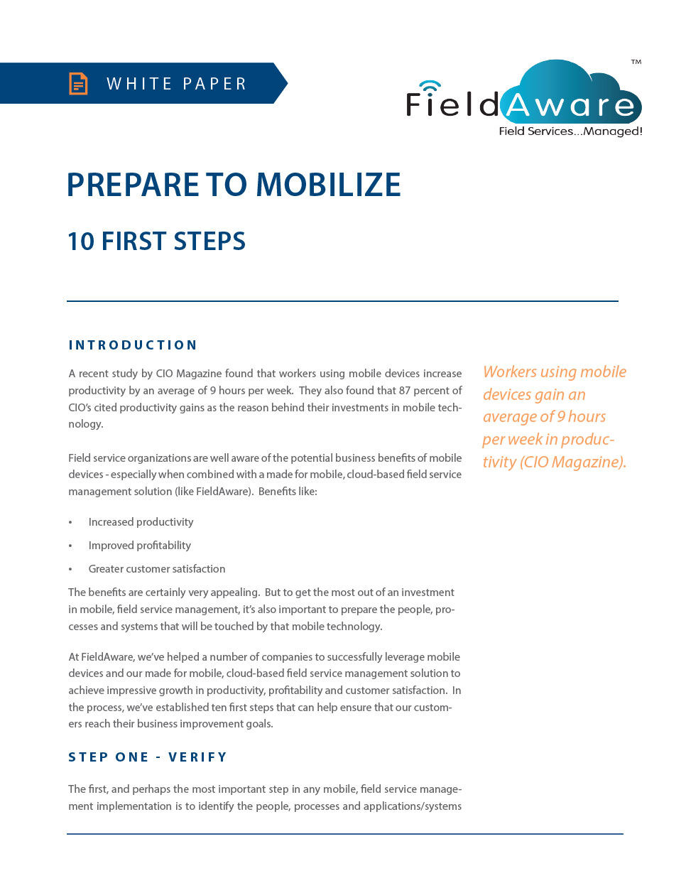 Prepare To Mobilize - 10 First Steps White Paper