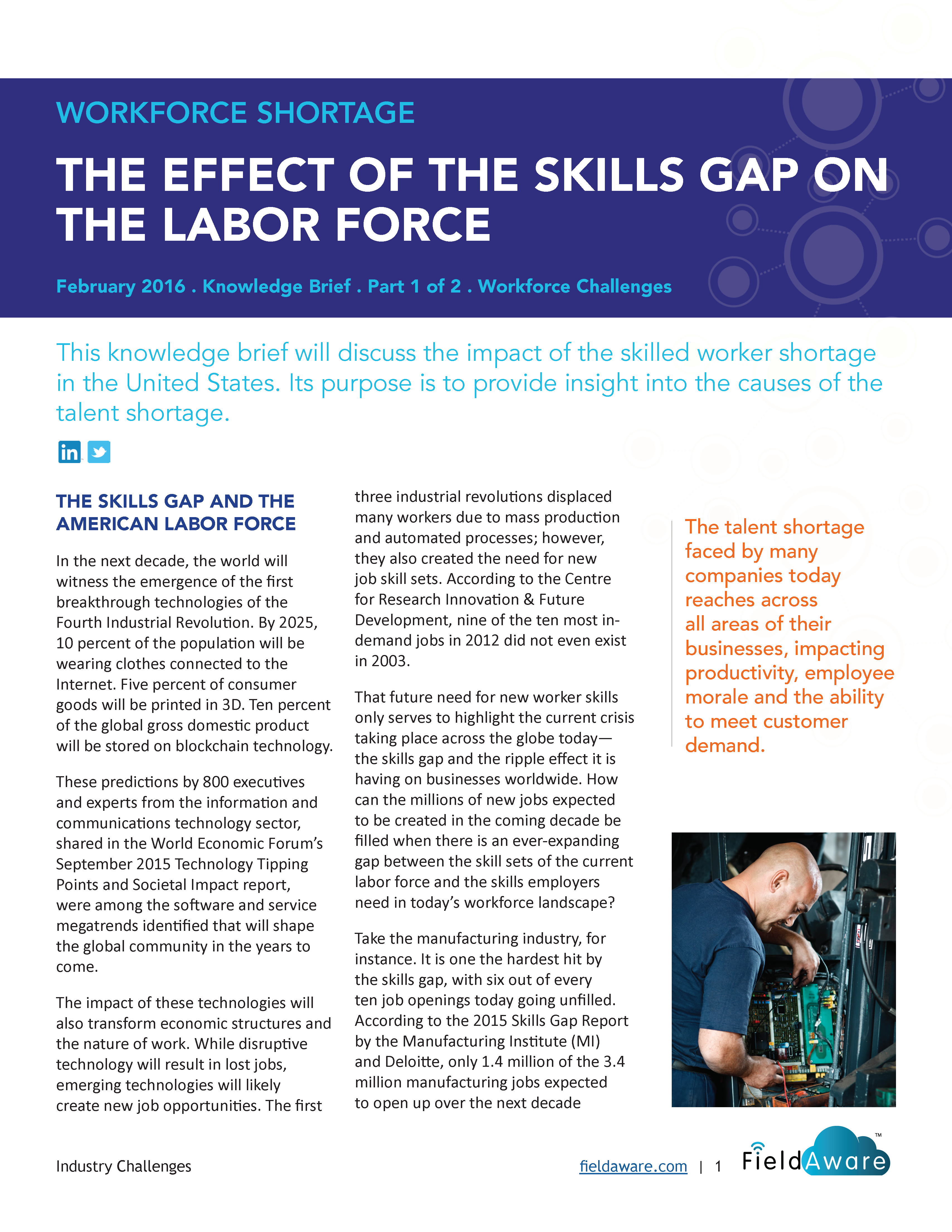 Workforce Shortage The Effect Of The Skills Gap On The Labor Force - Part 1 White Paper