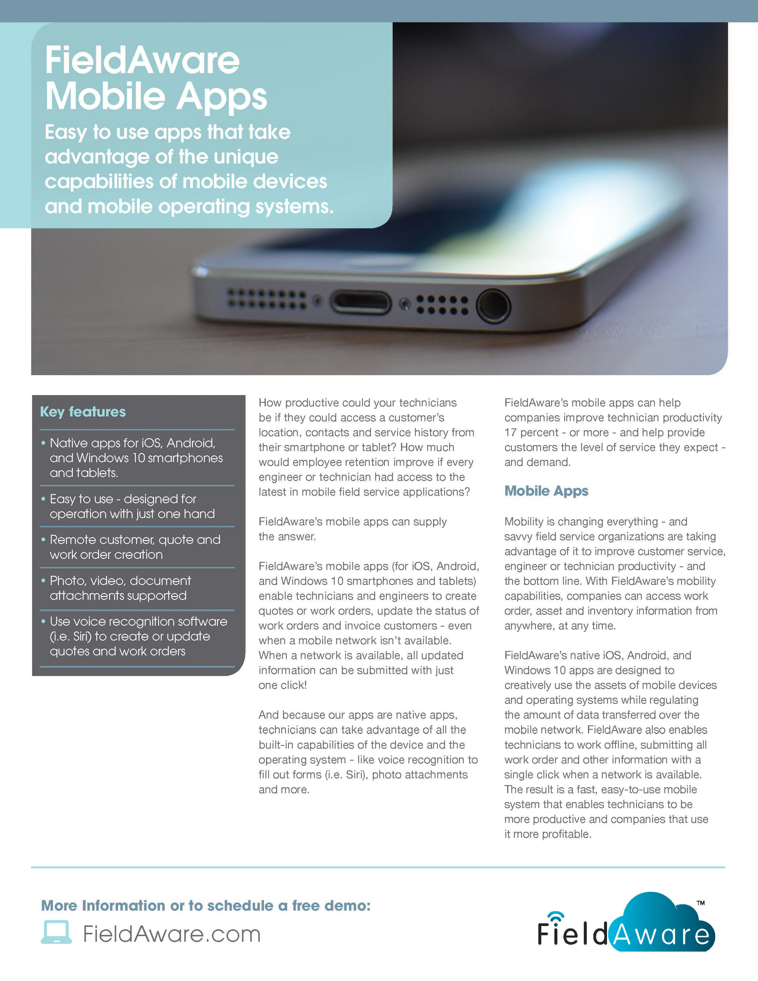 field service mobile apps datasheet